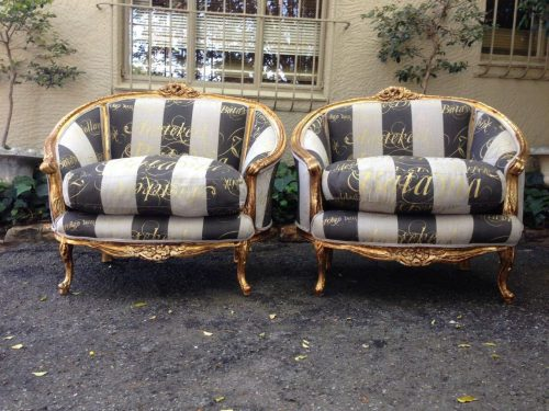 Pair or oversized French Bergere syle gilded armchairs in handmade fabric