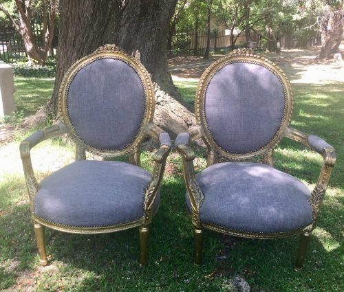 Pair of Gilded Armchairs (Brand New Upholstery)
