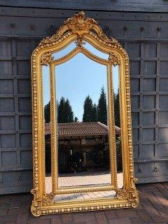 Large Ornate Gilded Mirror with Crown