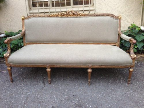 French style gilded settee *brand new upholstery*