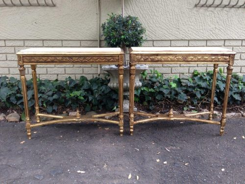 Pair of Rectangular Gilded Console Tables