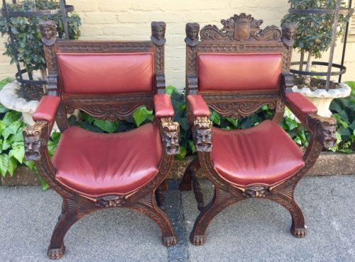 Pair Antique King and Queen Savonarola Carved Arm Chairs