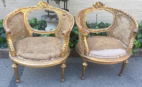 Pair French Antique/Vintage (70 years old) Gilded Bergere Chairs. Circa 1910 to 1930