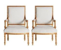 Pair of Giltwood Upholstered Fauteuils