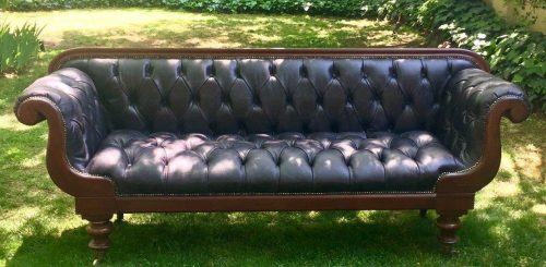 Antique Victorian Settee - Circa 1860-1880 *Brand New Leather Upholstery*