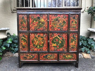 Oriental Painted Cabinet Decorated With Figural Scenes