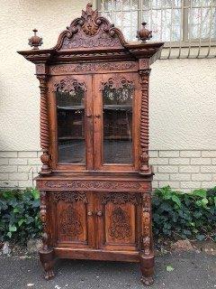 Victorian floral bookcase