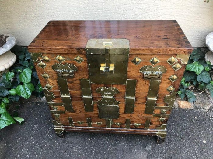 Antique Korean Chest with Brass Fittings