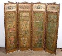 19th Century French 4 panel gilt screen with silk detail and hand-painted on paper paintings