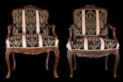 Pair antique Louis XV walnut Fauteuils a La Reine