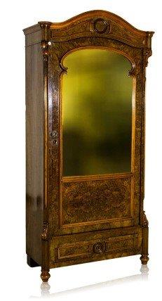 A Victorian Burr Walnut Armoire with Mirrored Door