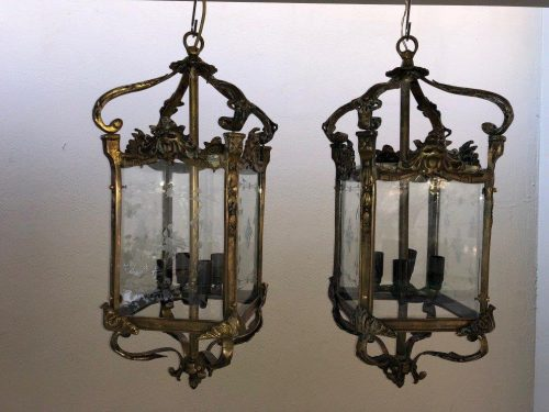 Set of 3 Chandelier Lantern with Brass