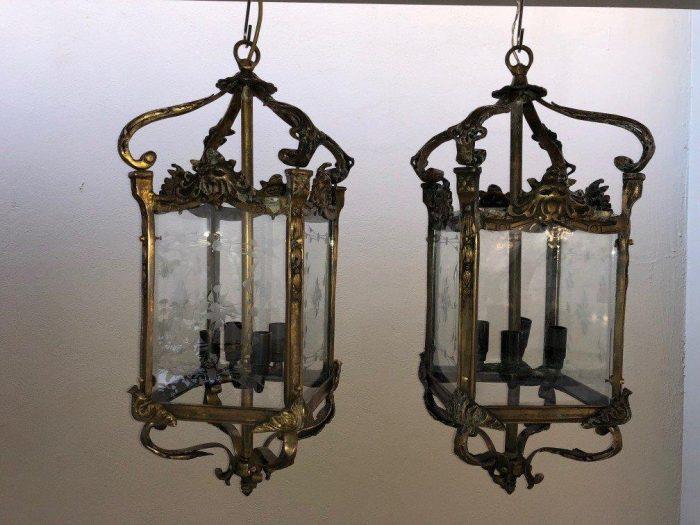 Set of 3 Chandelier Lantern with Brass