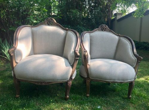 Pair of Gilded Tub Chairs