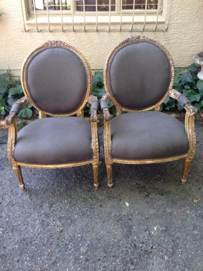 2355 Pair of Imported Gilded Armchairs *Brand New Upholstery*