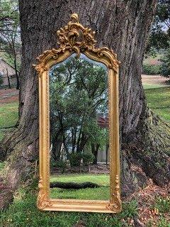 Ornate Gilded Mirror with Crown