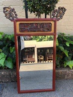 Mid-19th Century Chinese Red Lacquer and Gilt Mirror