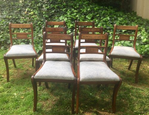 Set of 8 Regency Style Mahogany Dining Chairs with brass inlaid tablets