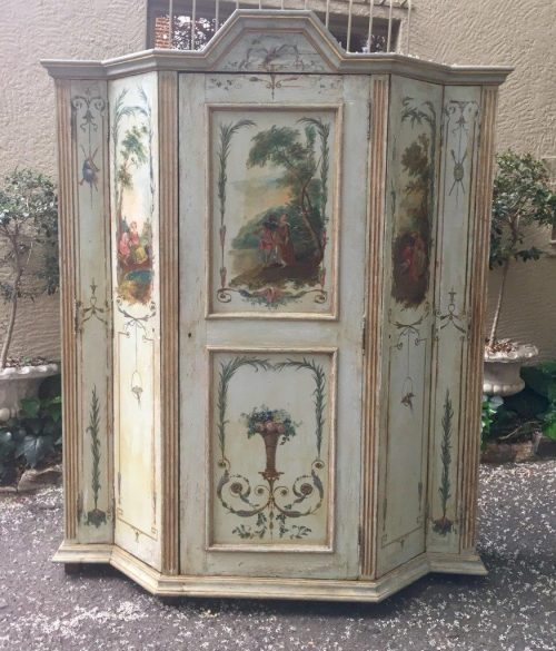 Late 19th Century Continental Painted Cupboard with twin panelled door