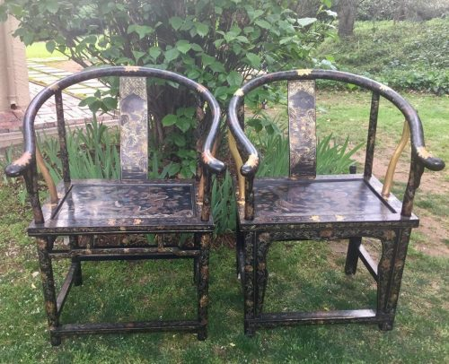 A near Pair of Black Lacquer Painted Chinese Armchairs