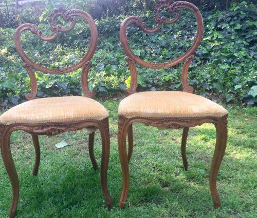 Pair of Edwardian Beech Salon Chairs