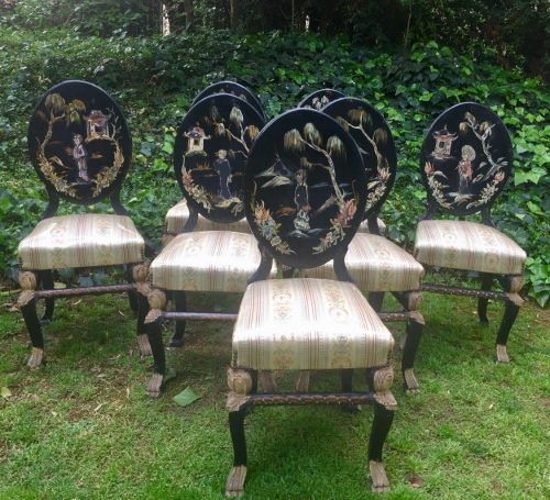 Set of 7 Black Japanned Dining Chairs
