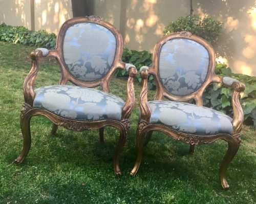 Pair of French Gilded Armchairs
