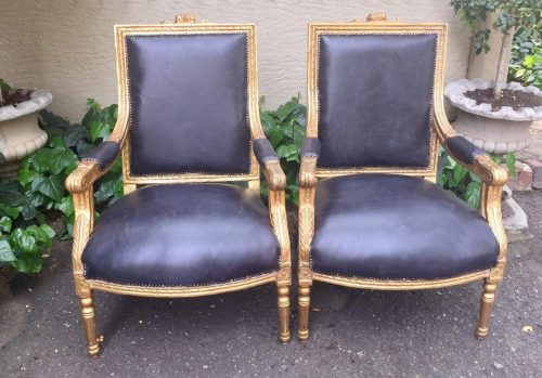 Pair of Gilded Armchairs  (Brand New Leather Upholstery)
