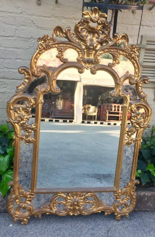 Gilded and Ornately Carved Wooden Mirror. Belgium. Circa 1974