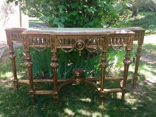 Ornate Carved & Gilded Consol / Hall Table with Marble Top
