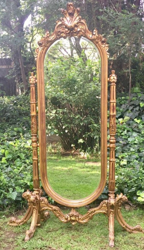 Gilded French Cheval Mirror
