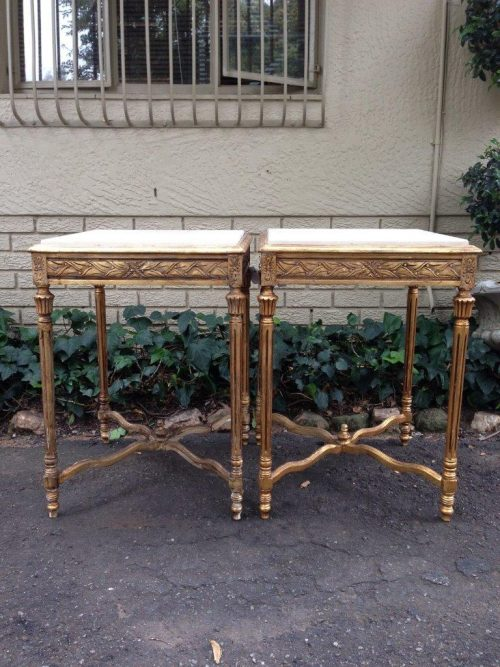 Pair of Gilded Marble Top Side tables