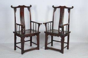 Pair of Chinese yoke-back armchairs