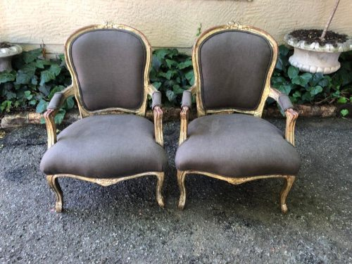 Pair Antique French Gilded Chairs