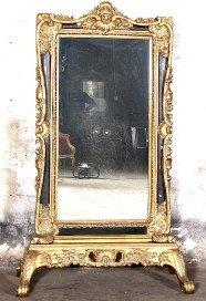 A Large Gilded Standing Mirror on Gilded Wooden Base