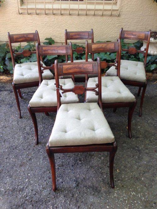 Set of six rare Regency mahogany dining chairs