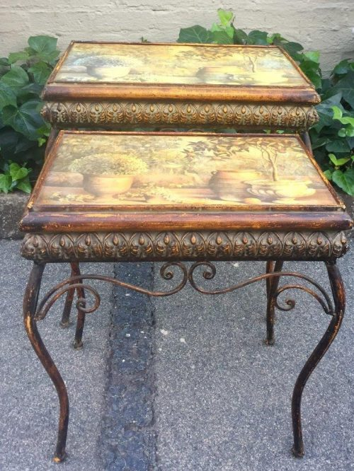 Pair of painted metal and decoupage side tables