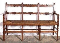 Very rare English walnut ladder back bench with seagrass seat
