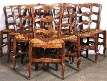 Ten original French beechwood ladder back chairs with seagrass seats