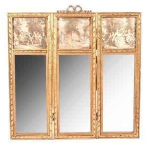 Regency Gilt Metal Triptych Mirror Screen