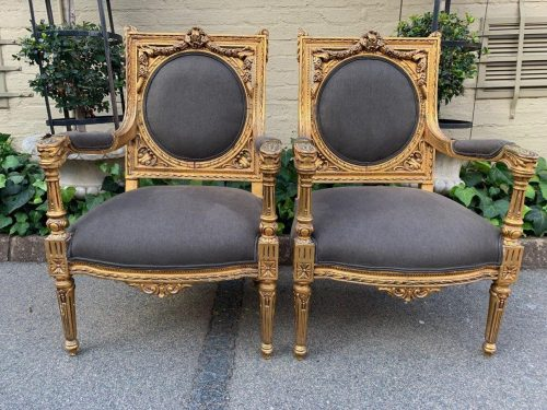 Pair of French Vintage Carved and Gilded Armchairs *New upholstery*