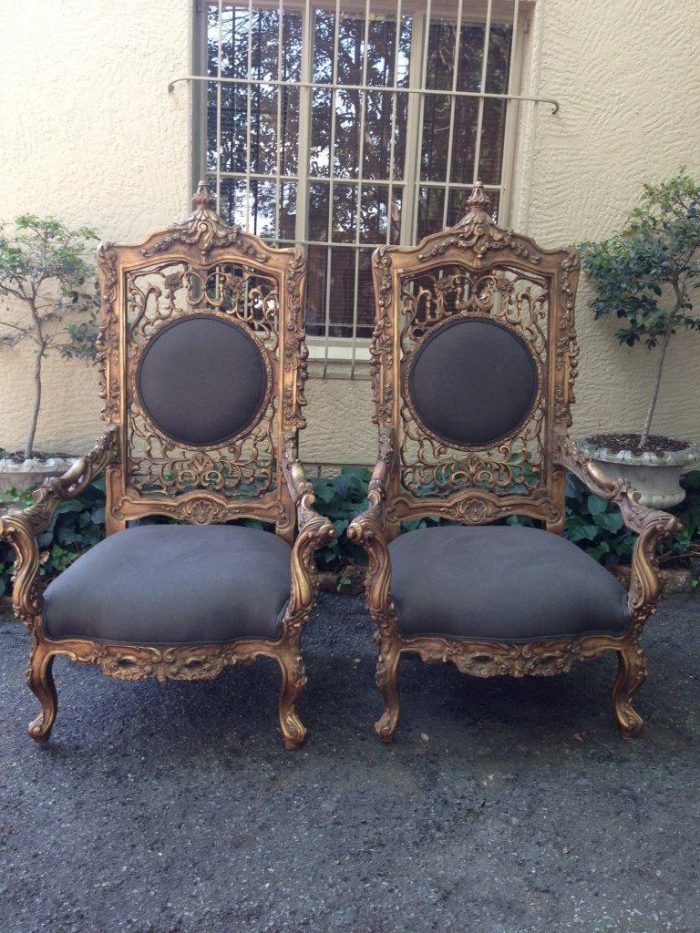 Pair of oversized Vintage French Gilded Throne chairs  *New upholstery*