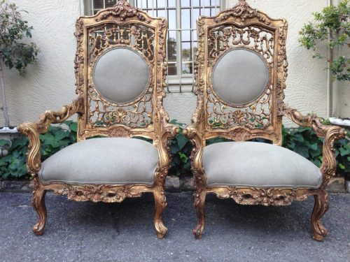 Pair of oversized Vintage French Gilded Throne chairs  *Brand New upholstery*