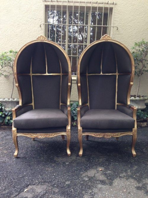 Pair of French style Gilded Canopy / Dome / Porter Chairs *New upholstery*