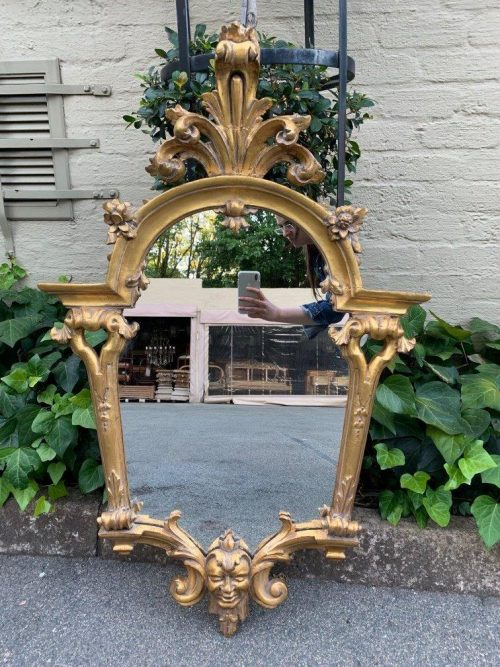 Ornately carved and gilded mirror
