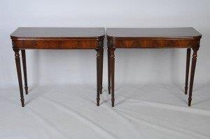 Pair Of Regency Style Mahogany Fold-Over Card Tables