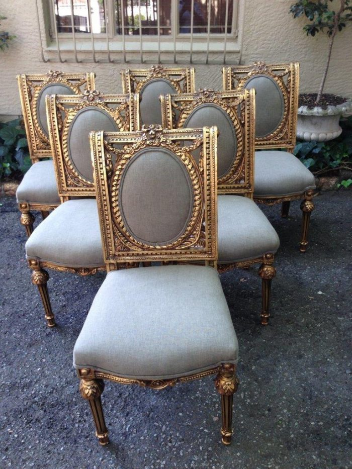 Set of 8 chairs 6 x gilded dining chairs with 2 gilded carvers) *Brand new upholstery*