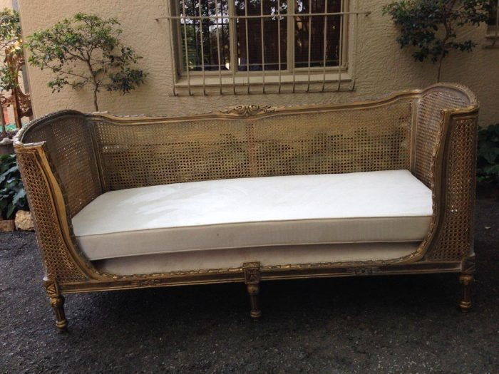 Gilded Rattan Daybed