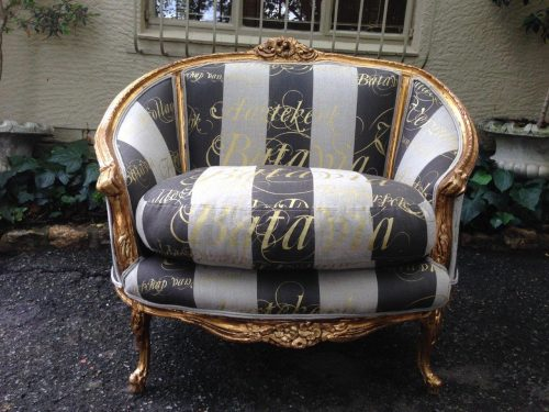 Oversized Louis XV Bergere style tub chair in hand painted fabric