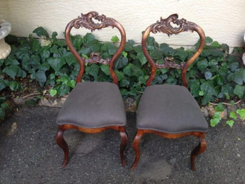 Pair of antique rococo chairs mid to late 1800's